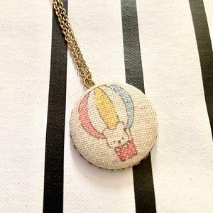 Bear hot air balloon cabachon button necklace